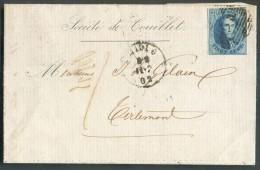 N°11 - Médaillon 20 Centimes Bleu  Obl. Ambulant M.VI. + Sc MIDI 6 Sur Lettre De Couillet Le 11-7-1862 Vers Tirlemont - - 1858-1862 Médaillons (9/12)