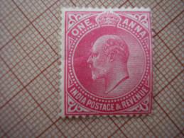 INDIA 1906 - 1907 EDWARD VII ONE ANNA VALUE Carmine MINT Hinged . - India (...-1947)