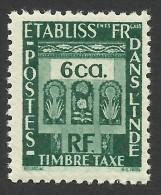 French India, 6 Ca. 1948, Sc # J21, MH - India (1892-1954)