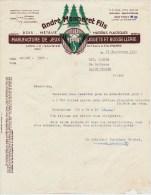 """39 : Facture De La Maison """" André Monneret Fils """" Manufacture De Jeux Jouets Et Boissellerie, Lons-le-Saunier - France"""