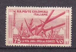 COLONIES ITALIENNES - N°Y&T - 35 - 75c Rose Carminé - Agriculture  - N** - Italie