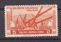 COLONIES ITALIENNES - N°Y&T - 32 - 5c  Rouge Orange  - Agriculture  - N** - Italy