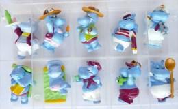 FIGURINES HIPPOS EN VACANCES SERIE KINDER COMPLETE - 1995