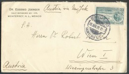 """35 Centimes PA Obl. Dc SERVICIO AEREO MONTERREY Sur Enveloppe Du 10 Juin 1930 Vers Wien - Manuscrit """"Austria Via New Yor - Mexique"""