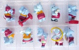 FIGURINES HIPPOS EN VACANCES SERIE KINDER COMPLETE - 1992