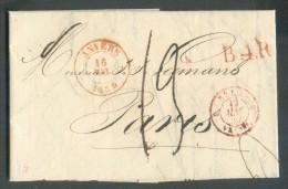 LAC D'ANVERS Le 16 Mai 1839 + Griffe Rouge B.4.R. Vers Paris.  10045 - 1830-1849 (Belgique Indépendante)