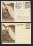 """DR Lot Privat-GA 6 Pf. Winterhilfswerk """"Erster Spaltenstrich 23.9.1933"""" 1937 Gelaufen Und Ungebraucht 2 Stück - Deutschland"""