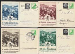 DR Lot Bild-GA 42. Dt. Philatelistentag Satz 5 Pf. Luftpost Mit ZF 1936-41 Gelaufen 4 Stück - Deutschland