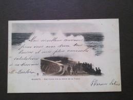 BIARRITZ  -  64  - CPA DOS SIMPLE DE 1903 D'UNE VAGUE SUR LA DIGUE DE LA VIERGE - 010814 - - Biarritz
