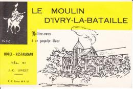 CPSM IVRY LA BATAILLE EURE LE MOULIN D IVRY HOTEL RESTAURANT PROP J C LINGET DESSIN - Hotels & Gaststätten