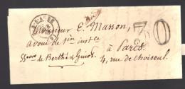 FRANCE 1848 Marque Postale Taxée De Bar S/Aube S/lettre Entiére - Marcofilia (sobres)