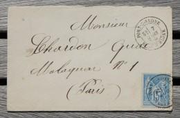 Enveloppe Pour Paris Affranchissement Type Sage Oblitération Port Sur Saône Type 18 Haute-Saône 69 - Marcophilie (Lettres)