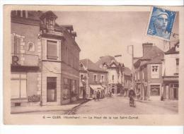 Guer (56) - Haut De La Rue St-Gurval. Etat Très Moyen Avec 2 Pliures Et Papier Manquant Au Dos, Sépia, Circulé. - Other Municipalities
