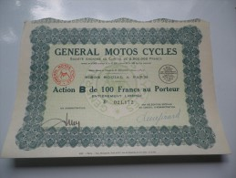 GENERAL MOTOS CYCLES (1930) - Actions & Titres