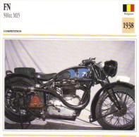 Fiche Technique Moto (Course - Belgique)  -  FN 500cc M15 Endurance Trials  -  1938   -   Carte De Collection - Other