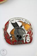 Dalmatian Puppy Drestesd Like Fireman/ Firefighter - Pin Badge #PLS - Bomberos