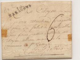 Lettre De Narbonne Pour Montpellier AN 2  - Marque Linéaire Narbonne 34X8 + Taxe Manuscrite 6 - 1701-1800: Precursores XVIII