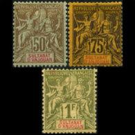 ANJOUAN 1892 - Scott# 17-9 Goddess 50c-1f LH (XA516)
