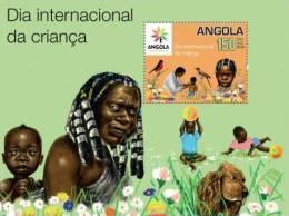 ang1002b Angola 2010 International Day of Children Shanghai Expo s/s Bird Dog Flower