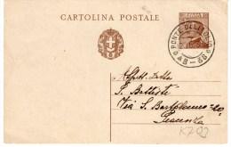 INTERO POSTALE CENT.30-PONTE DELL´OLIO-20-6-1930-ANNUL LO FRAZIONARIO - 1900-44 Vittorio Emanuele III