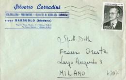 CARTOLINA POSTALE PUBLICITARIA-SASSUOLO (MODENA)-COLTELLERIA SILVERIO CORRADINI-AFFRANCATO CON  LIRE 200-ALCIDE DE GASPE - 6. 1946-.. Repubblica