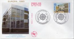 Lote F-Fr58, Francia, 1990, FDC, Europa CEPT, Strasbourg, Cerizay - FDC