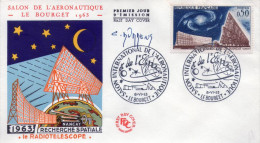 Lote F-Fr64, Francia, 1963, FDC, Radio Telescopio, Espacio, Galaxia, Radio Telescope, Space, Galaxy, Signed - FDC