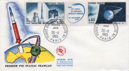 Lote F-Fr65, Francia, 1965, FDC, Primer Satélite Francés, Espacio, French First Satellite, Space - FDC