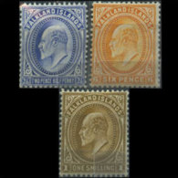 FALKLAND IS. 1904 - Scott# 25-7 King 2.5p-1s LH (XJ082) - Falkland Islands