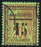 1889 Alphée Dubois  20 Cent Surchargé «Guadeloupe »/ 15 Centimes» Encadré  Yv 8 - Oblitérés