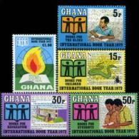 GHANA 1972 - Scott# 445-9 Intl.Book Year Set Of 5 LH (XJ707) - Ghana (1957-...)