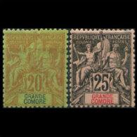 GRAND COMORO 1897 - Scott# 9-10 Goddess 20-25c LH (XN260)