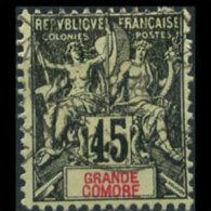 GRAND COMORO 1907 - Scott# 15 Goddess 45c Used (XN264)