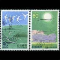 JAPAN 1999 - Scott# Z368-9 Nara-Views Set Of 2 Used (XK083) - 1989-... Emperor Akihito (Heisei Era)