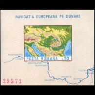 ROMANIA 1977 - Scott# 2744A S/S Danube Map MNH (XK199) - Unused Stamps