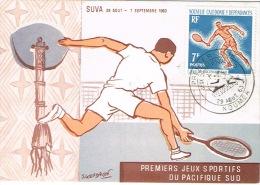 Nouvelle Caledonie Carte Postale Maximum Premier Jeux Sportifs Du Pacifique Sud Suva Tennis Hache Ostensoir 1963 TB - Usados