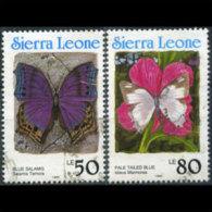 SIERRA LEONE 1991 - Scott# 1332I-J Butterflies 60-80l Used (XO588) - Sierra Leone (1961-...)