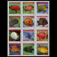 SURINAM 2009 - Scott# 1391a-l Tropical Fish Set of 12 MNH (XV609)