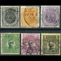 SWEDEN 1910 - Scott# 67-72 King 1o-1k Used (XI895) - Suède