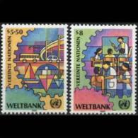 UN-VIENNA 1989 - Scott# 88-9 World Bank Set Of 2 MNH (XL466) - Vienna – International Centre