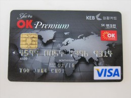 Korea VISA Credit Card,premium, World Map - Tarjetas Telefónicas