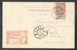 N°54 - 2 Centimes Armoirie Obl. Sc LIEGE DEPART Sur C.V. Du 22 Juillet 1905 VersVenlo (Pays-Bas) - 10047 - 1884-1891 Léopold II