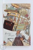 Old 1909 Illustrated Postcard From Germany - Zeppelin Illustration - Glückliches Neujahr!/ Happy New Year - Año Nuevo
