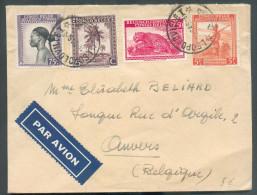 N°232-241-256-263 Obl. Sc LEOPOLDVILLE Sur Lettre Par Avion Du 14-8-1946 Vers Anvers. - 10074 - Congo Belge