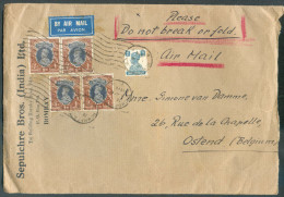 Cover Franked 4R.6As Cancelled Mécanical BOMBAY 28-3-1948 By Airmail To Ostende (Belgium) - 10081 - 1936-47 Roi Georges VI