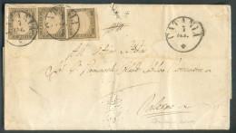 10 Centessimi Gris-olive (x3) Obl. Sc De SICILIA CATANIA Le 7 Septembre 1861 Vers Palermo - 10083 - Sardaigne
