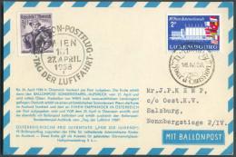 Luxembourg 2FR. Sc Jour D'émission 16-IV-1958 + AUTRICHE 30g. S BALLON-POSTFLUG WIEN 101/27 April 1958 Sur Carte (Jacob - Par Ballon