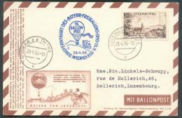 Luxembourg 2FR.50. Sc LUXEMBOURG 21-IV-1956 Sur Carte Ballon-Post  (Aerostatischen Maschine0) Vers Luxembourg  + Griffe - Par Ballon