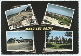 Grd1@ CPSM MULTIVUES COLORISEE MALO LES BAINS, PLAGE, CAMPING, CASINO, NORD 59 - Malo Les Bains