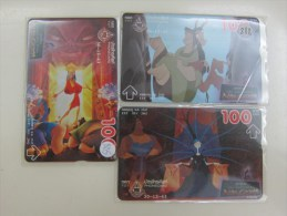 L&Gyr Optical Phonecard,Disney Movie- The Emperor's New Groove,3 Cards, Used - Thaïlande